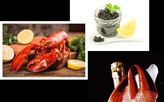 caviar, fruits de mer