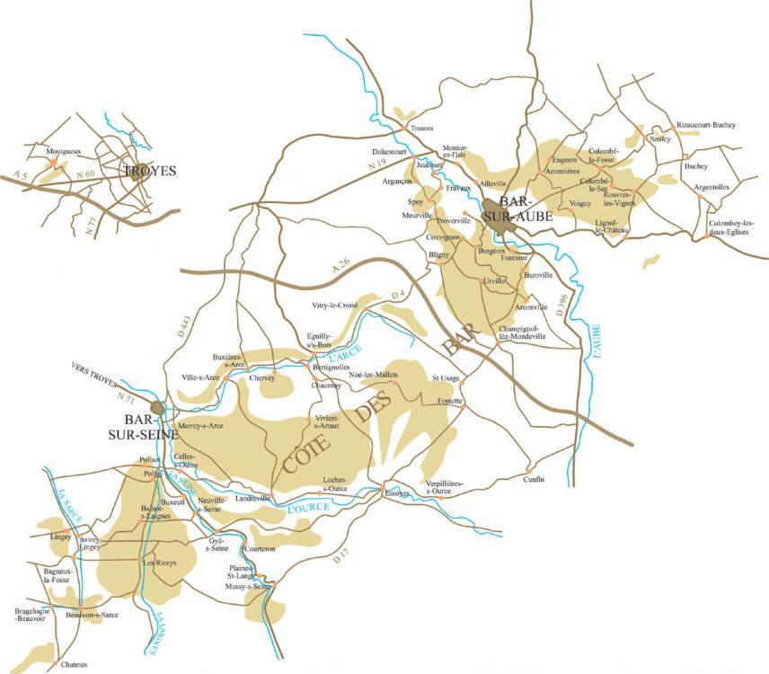 Carte de la Côte des Bars