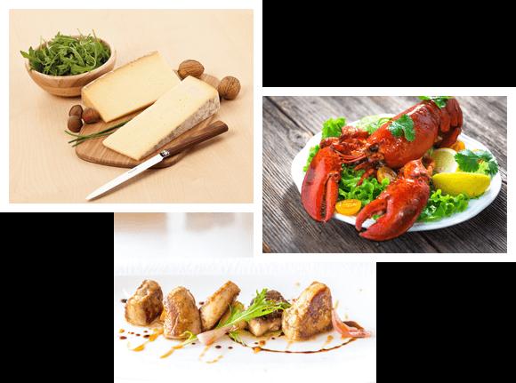 fromages, fruits de mer, foie gras