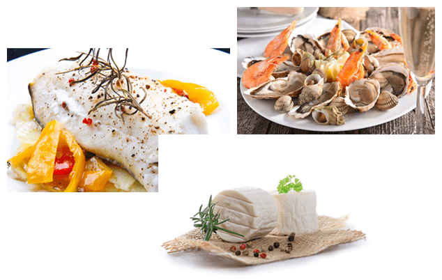 fruits de mer, poisson blanc, fromage