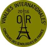 Médaille d'OR - Vinalies internationales 2016